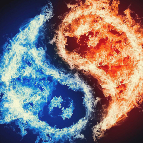 Twin flames yin and yang made up of blue and red fire